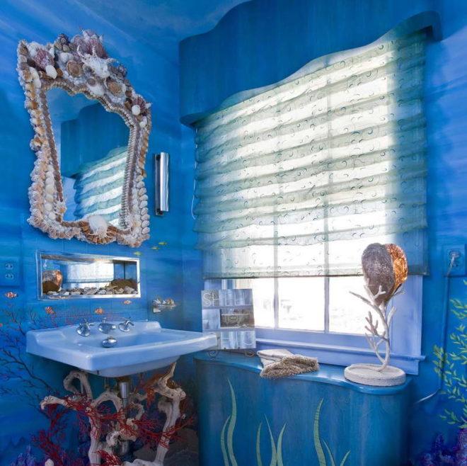 дизайн ванной в стиле морское дно