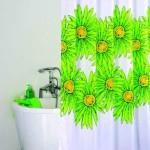 зеленая шторка для ванной