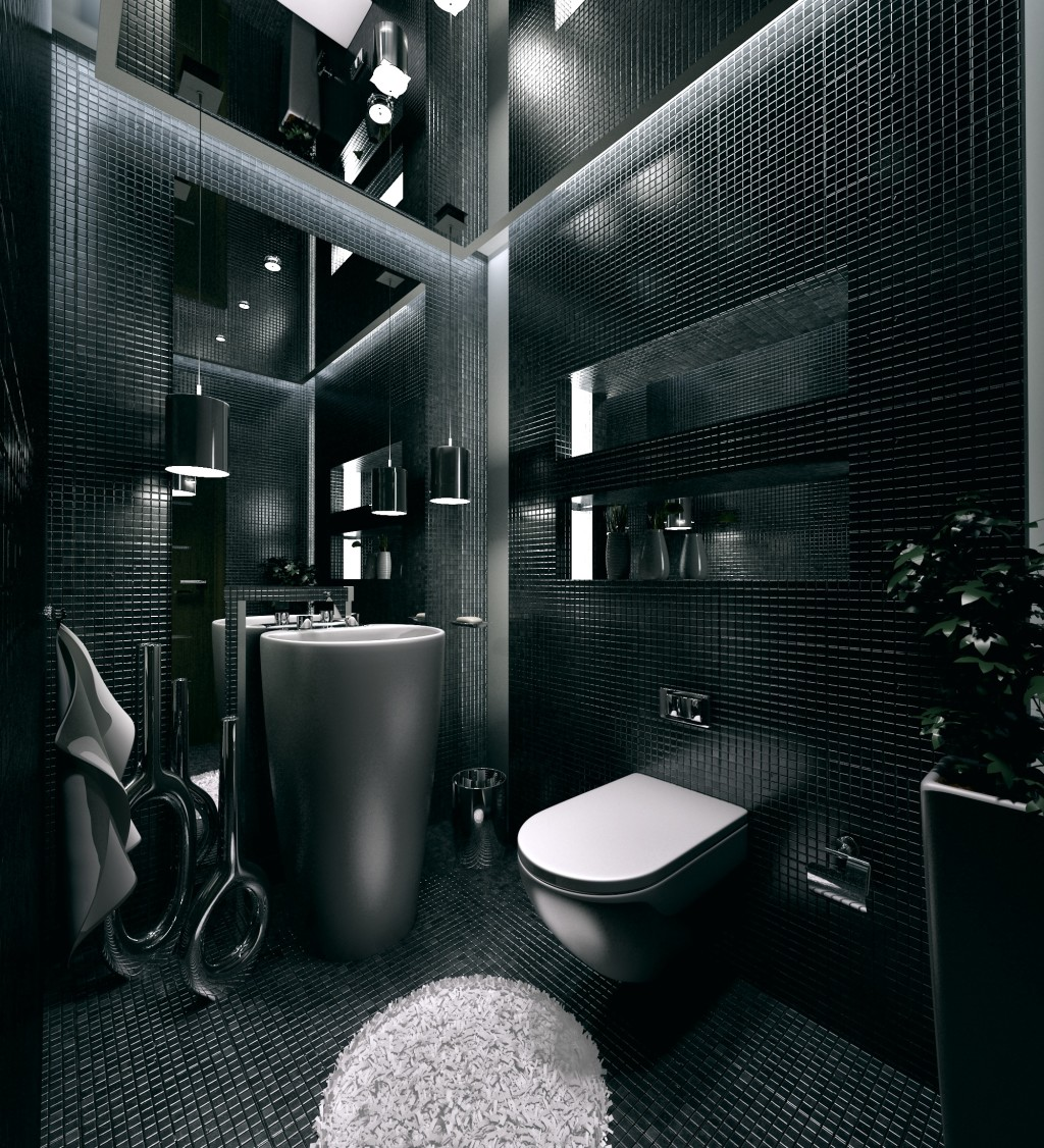Black and white bathroom sets