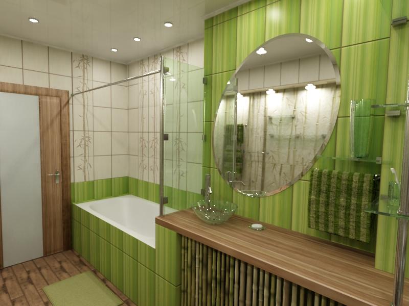 Дизайн ванной комнаты в бежево-зеленых тонах