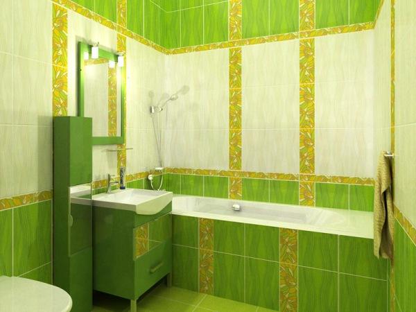 Ванная комната с зелёной плиткой дизайн