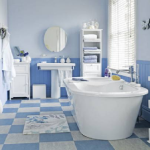 дизайн ванной в синем