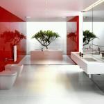 Ванная в стиле модерн в красных оттенках