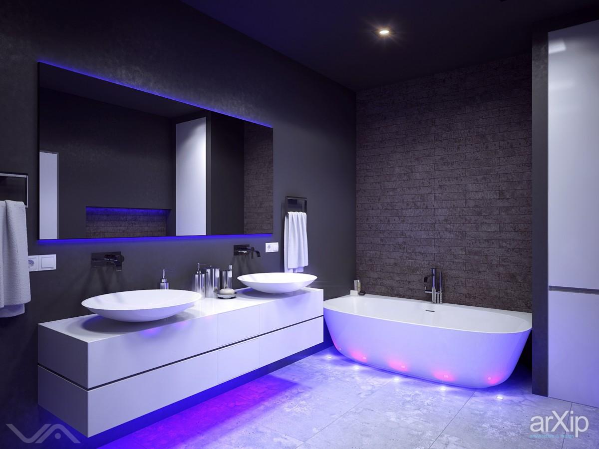 Интерьер ванной в стиле хайтек фото от дизайнеров