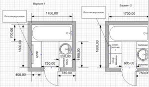 планировка ванной