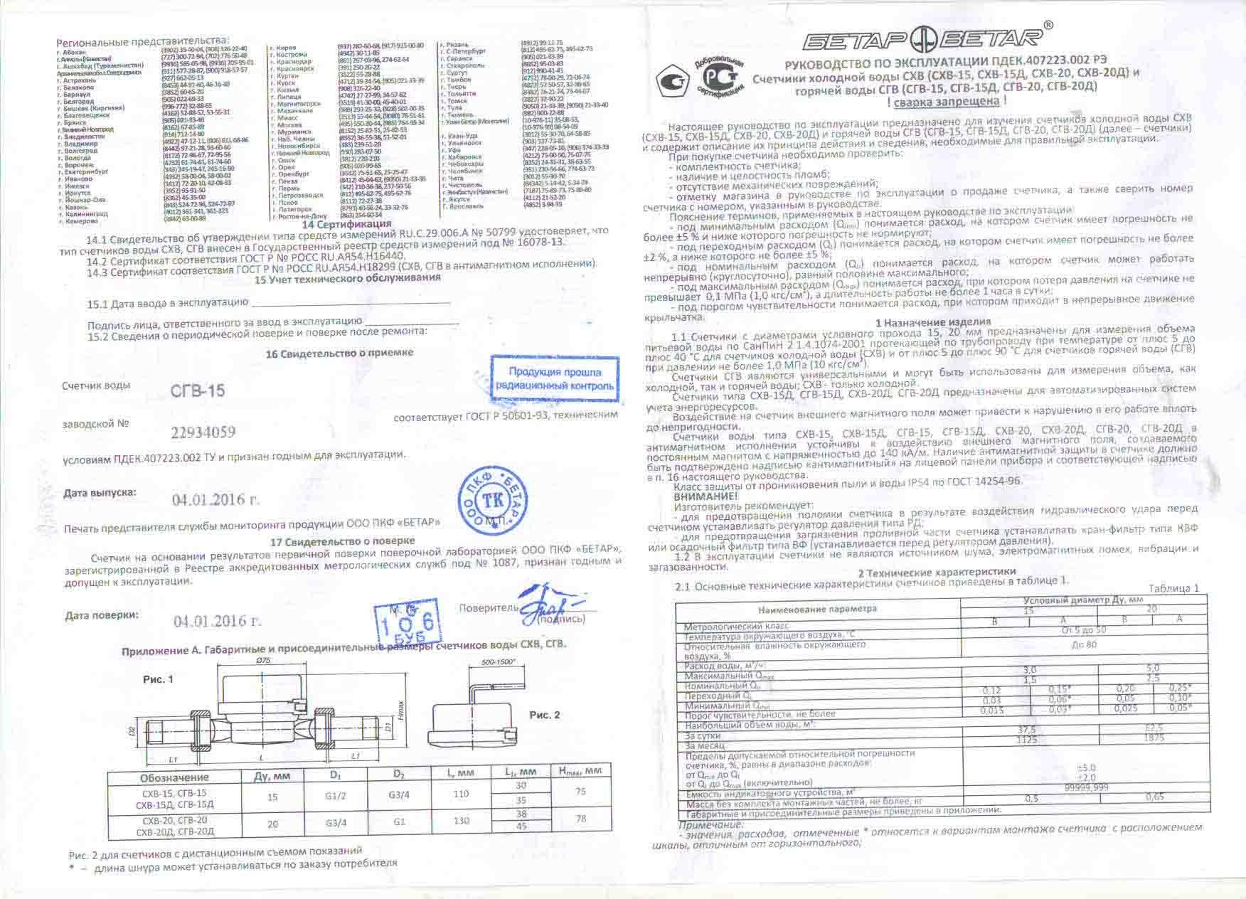 паспорт на водяной счетчик