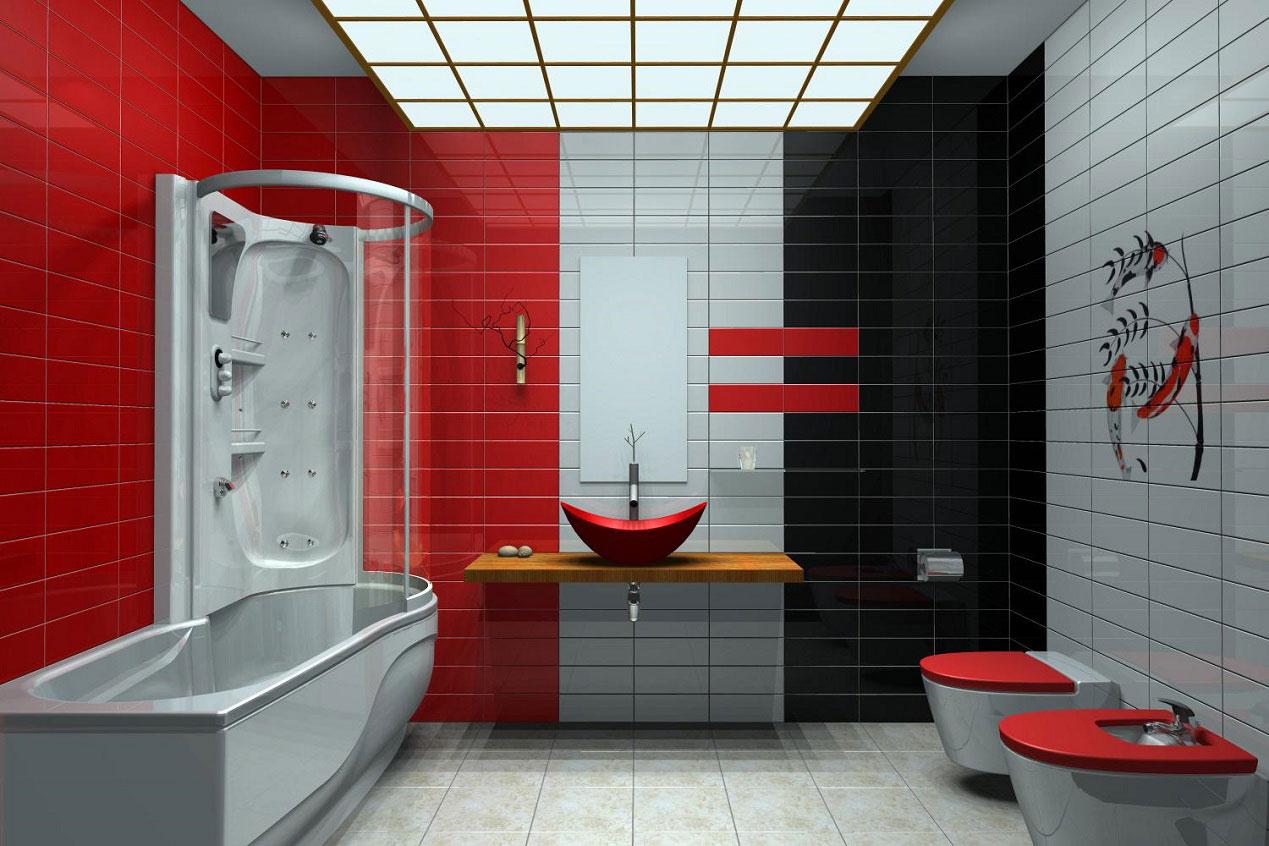 Дизайн совмещенной ванной комнаты в черном кафеле