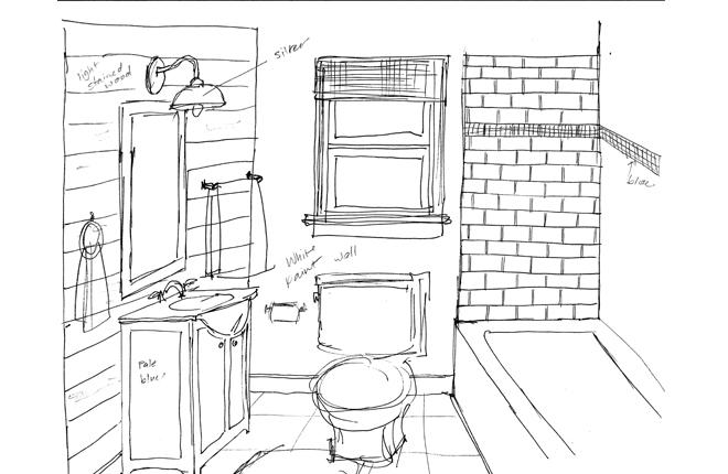 проект ванной комнаты нарисованный от руки